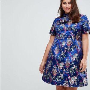 ASOS Curve High Neck Brocade Dress in Royal Blue